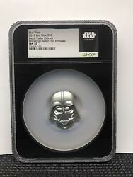 2019 Niue Star Wars Darth Vader Helmet Uhr 2 Oz Silver Ngc Ms70 Fr With Ogpandcoa