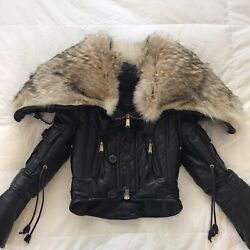 Dsquared2 Leather Goose Down Coyote Fur Jacket Parka Coat Hooded S It 42 Us 2/4
