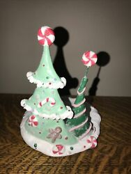 Yankee Jar Candle Holder Sugar Plum Christmas Tree Holiday Rare Candy Peppermint