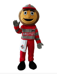 Ohio State Brutus Mascot Costume Adult Size For Men And Women Free Shipping