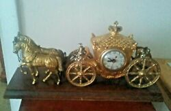 United Clock Gold Horse Drawn Carriage Stagecoach
