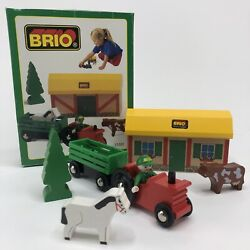 Vintage 1997 Brio Wooden Farm Set Toy Train With Box 33585 Made In Sweden