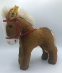 Vintage Steiff Rico The Horse W/ear Tag 3760/25 Brown With Red Bridle