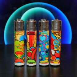 Clipper Lighter 4 Set Rare Collection Dreamy Colorful Drawing - Very Rare