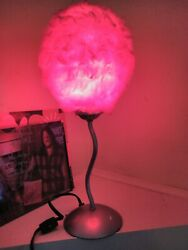 Vintage Lamp Pink Fluffy Fuzzy Shade Works Well Table Top