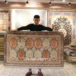 Yilong 3and039x5and039 Floral Hand-knotted Silk Carpet High Density Handmade Area Rug 294h