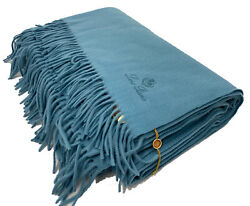 Loro Piana 100 Cashmere Large Turquoise Unito Blanket Made In Italy