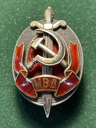 """Ussr Badge""""honored Worker Of The Ministry Of Internal Affairs"""", Numbered ."""