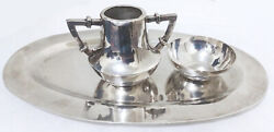Vintage Juventino Lopez Reyes 925 Sterling Silver Small 3 Pcs Tray Creamer Cup