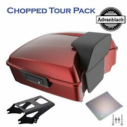 Hard Candy Hot Rod Red Flake Chopped Tour Pack Pak Trunk Luggage For 97+ Harley