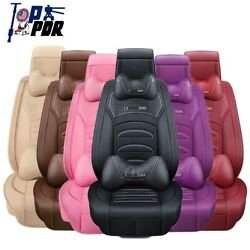 6d Luxury Universal Pu Leather 5-sits Car Seat Covers Cushions Front+rear Pillow
