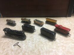 Antique Marx Tin Wind-up Train Engine Working W/ Key + Caboose, Coal Car +5 More
