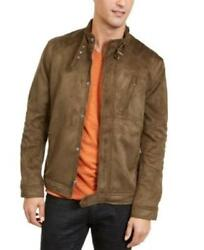 Inc Mens Large Olive Green Full Zip Faux Suede Jacket