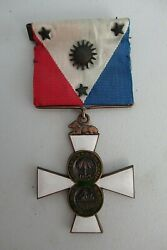 Usa Army Of The Phillipines Society Badge Medal. Type 1 On Original Ribbon Rr