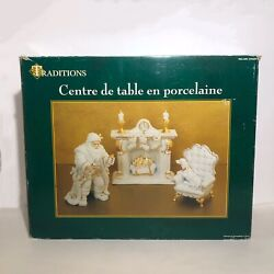 Christmas White Porcelain Gold 6 Piece Centerpiece Set Traditions Collectible