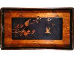 Vintage 23.5 Wood Serving Tray Oriental Style Birds Tree Floral Geometric Inlay