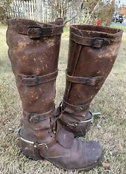 40s Wwii Us Cavalry Officer Buckled Riding Boots Crossed Sabers Insignia And Spurs