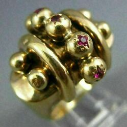 Antique Large .50ct Aaa Ruby 14kt Yellow Gold 3d Five Stone Fun Ring