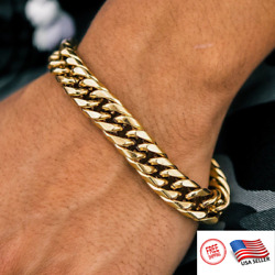 Mens Real Solid 18k Gold Stainless Miami Cuban Bracelet 12mm 6-11 Heavy Link