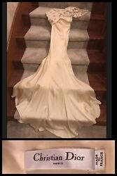 Christian Dior Evening Gown Silk Nude Couture Train Wedding Formal Red Carpet 6