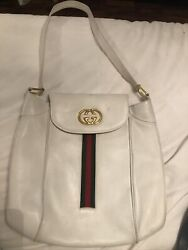 Rare Large Vintage Gucci Bag White leather with Classic Green and Red Stripes $220.50