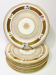 8 Gold Gilt French Porcelain Plates Floral Hand Painted Antique 10 Signed Cr