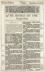 1611 King James Bible Leaf And039heand039 Bible Isa.1 The Lord Hath Spoken + Gutenberg 3
