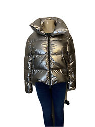 Herno Laminar Quilted Metallic Puffer-coat Jacket, Small 40