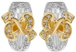 Estate Large .40ct Diamond 14kt 2 Tone Gold Floral Bow Huggie Hanging Earrings