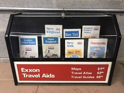 Vintage Exxon Travel Aids Maps Gas Station Counter Display Case Sign With Maps