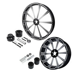 21and039and039 Front Wheel Rim Hub 18and039and039 Rear Fit For Harley Road King 2008-20 Single Disc