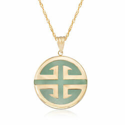 Jade Longevity Chinese Symbol Circle Pendant Necklace In 14kt Gold