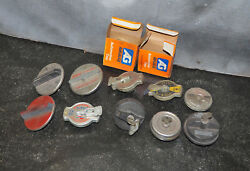 Lot Of 12 Vintage Radiator And Fuel Caps Nos/used Car Truck Lock Key Aftermarket