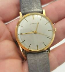 Vintage 14k Solid Yellow Gold Wittnauer Menand039s Wristwatch Ca 1960and039s Works