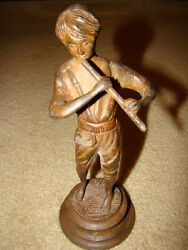 Antique Handmade Cast Iron Statue Of Boy Playing Flute 10 Inches High