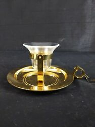 New Partylite Brass Nautical Ship Bell Candle Holder With New Glass Globe