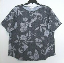 Cj Banks Size 3x Floral Knit Top, Short Sleeve, Black And Grays Nwt