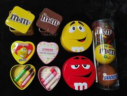 Mars Ornament Tin Lot Mandm's Snickers No Candy Tins Only Lipsmacker Valentines ++