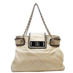 Mademoiselle Accordion Chain Shoulder Tote Bag Quilted Calfskin Leather