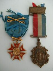 Usa Group Of 2 Army Of The Potomac Society Badge In Gold + Brooklyn 1866 Medal