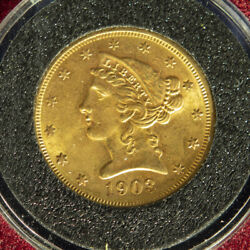 1903 S 5 Gold Liberty Head - Half Eagle In Super Condition