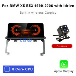 8-core Android 10 Car Gps Navigation Player Wifi Wireless Carplay For Bmw X5 E53