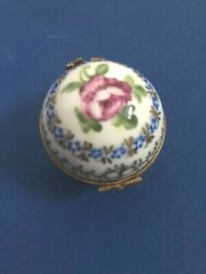 Limoges Hinged Hand Painted Trinket Box With Clock