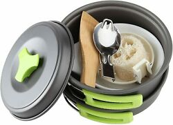Camping Cookware Mess Kit 1 Liter Backpacking Gear amp; Hiking Outdoors Bug Out Bag $28.79
