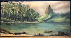 Original Oil Painting Hawaii Signed Louise Crain. Shows Wear. 36andrdquo X 16andrdquo. Rare