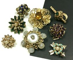 Vintage All Signed Coro Brooch Pin Lot Rhinestone Seed Pearl Moonglow Mm16sc