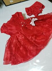 New W Tag Baby Girl Red Nannette Dress W Sheer Petal Overlays W Diaper Cover 12m