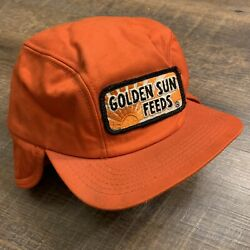 Vintage Golden Sun Feeds Fitted 6 7/8 Trucker Cap Hat Patch K Brand Made In Usa