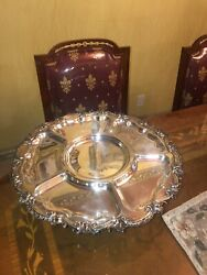 Antique Silver Plated Brassserving Tray/platter Rotating Lazy Susan Ornate Rims