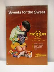 Vintage Morton Sweets Confectionery Advertising Tin Sign Girl Cat Collectibles